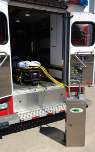 Biomist Inc. SS10 Mini System being used to sanitize an ambulance