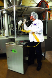 Biomist SS20 Power Sanitizing System in use at a food processing facility